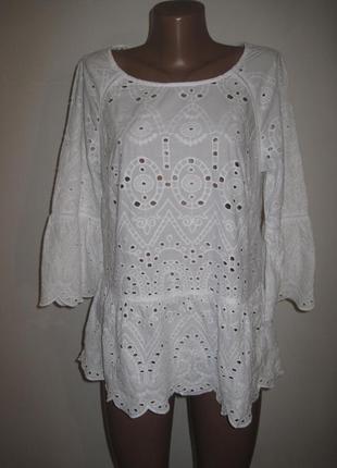 Хлопковая блуза шитье f&f р-р14