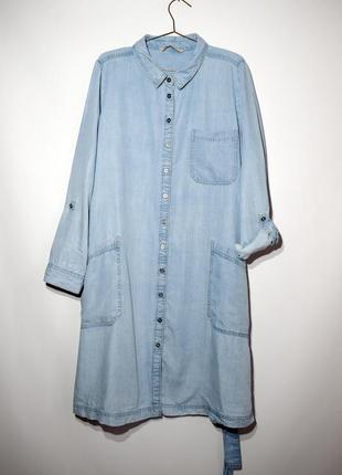 Натуральное легкое джинсовое платье халат, рубашка, миди, бохо, батал, большой р-р