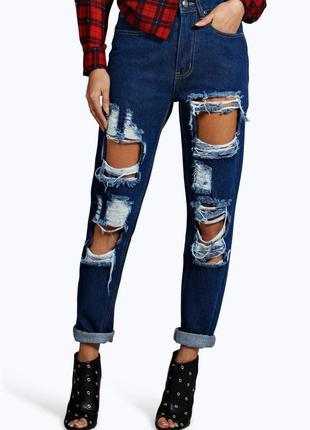 #28 новые рваные мам джинс высокой посадки boohoo