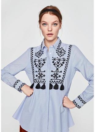 Zara рубашка вышиванка блузка