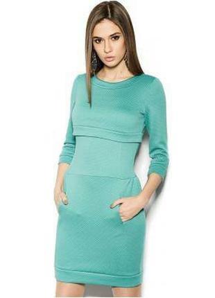 Теплое мятное платье из модной рельефной ткани cardo space