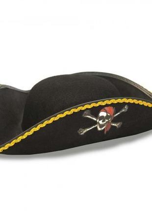 Шляпа пирата веселый роджер треуголка фетр