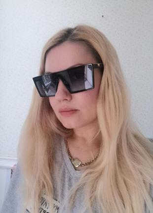Эксклюзивные брендовые чёрные солнцезащитные очки маска унисекс 2021