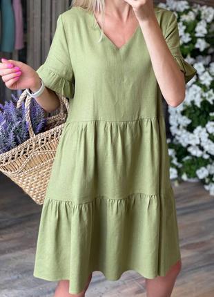 Льняное свободного платье6 фото