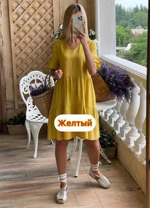 Льняное свободного платье3 фото