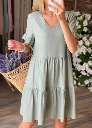 Льняное свободного платье7 фото