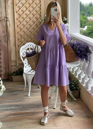 Льняное свободного платье4 фото
