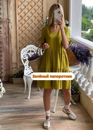 Льняное свободного платье5 фото