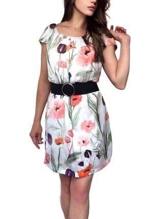 Сатиновое платье в цветы