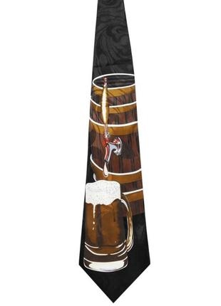 Галстук краватка  с приколом alcohol бочонок пива