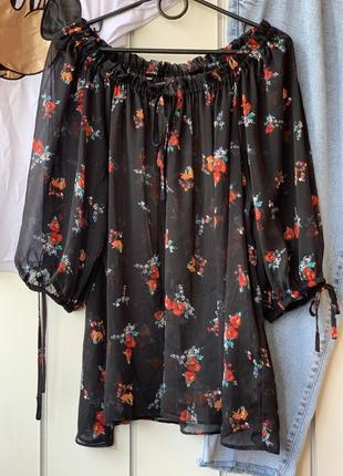 Блуза прозрачная черная с цветами нежная воздушная на плечи