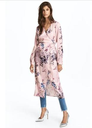 Стильное миди платье халат, накидка на запах h&m в цветочный принт