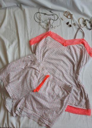 Идеальная бежевая розовая пудровая яркая хлопковая пижама майка шорты кружевная большого размера в горошек крапинку