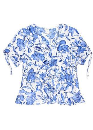 Голубая блуза с завязками h&m цветы