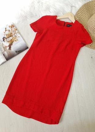 Красное коралловое морковное платье сарафан прямого кроя