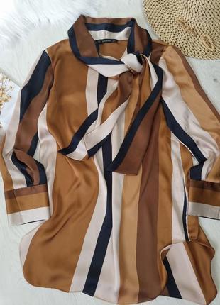 Блуза в полоску zara с галстуком бантом завязкой зара zara