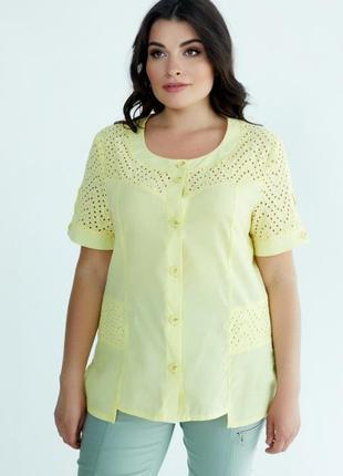 Рубашка хлопковая, блуза с прошвой
