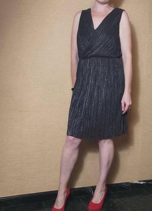 Черное с блеском плиссированое платье сукня на запах вечернее