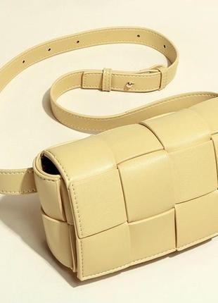 Плетёная сумка из натуральной кожи через плече/ поясная