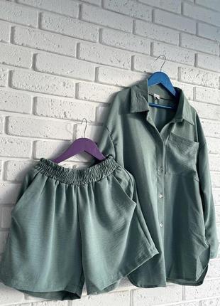 Костюм рубашка шорты креп