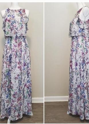 Длинное цветочное платье с разрезами