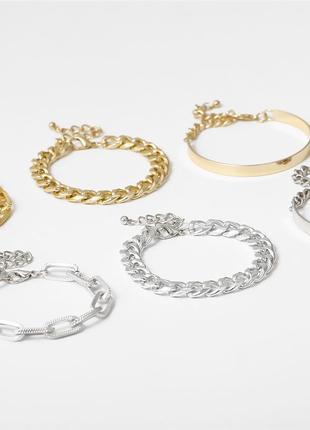 Женский набор браслетов посеребренные 925