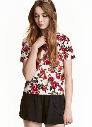 Широкий штапельный топ футболка блузка в принт розы