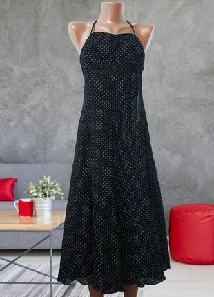 Черное  нарядное платье в горох, красивая спинка