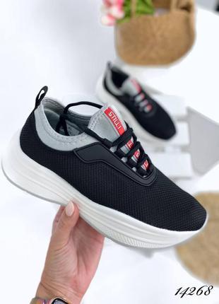 Кроссовки кеды мокасины текстиль неопрен  чёрные спортивные на высокой подошве