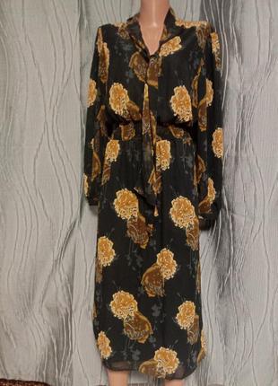 Шифоновое платье миди в большие цветы румыния