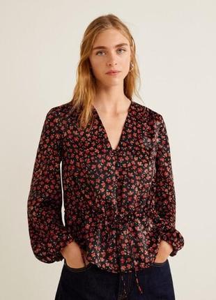 Красивая блуза в принт цветы л 12