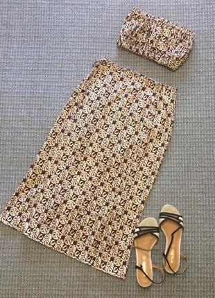Топ с юбкой миди стильный комплект коттон