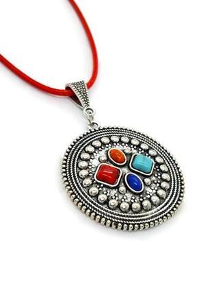 """💐✨ оригинальный кулон """"круг"""" в этно-стиле натуральный камень говлит бирюза"""