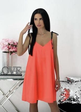 Платье летнее женское легкое свободное неон короткое