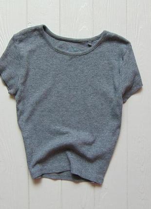 Fb sister. размер xs, будет от 12 лет. стильная укороченная футболка в рубчик для девочки