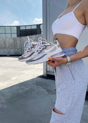 ❤ женские пудровые текстильные кроссовки nike  react 270 pink grey ❤