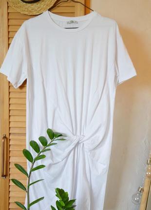 Платье футболка с узлом zara