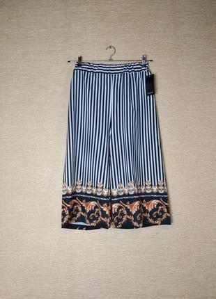 Легкие полосатые штаны брюки кюлоты с орнаментом