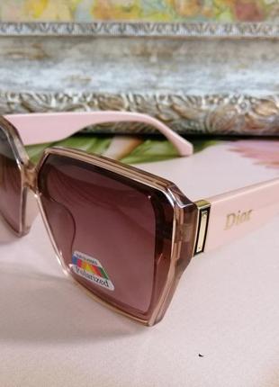 Эксклюзивные розовые нюдовые солнцезащитные женские очки 2021 с поляризацией