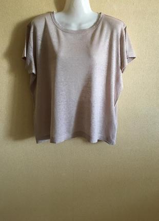 Укорочённая базовая футболка 100% лён h&m basics
