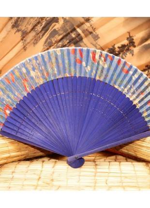 Красивый ручной веер для лета шелк и бамбуковая основа