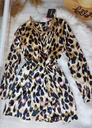 Шелковое платье в леопардовый принт