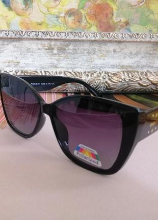 Чёрные стильные брендовые солнцезащитные женские очки лисички 2021