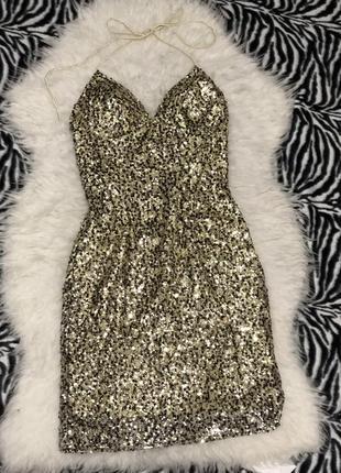 Платье в пайетку с позолотой terani couture