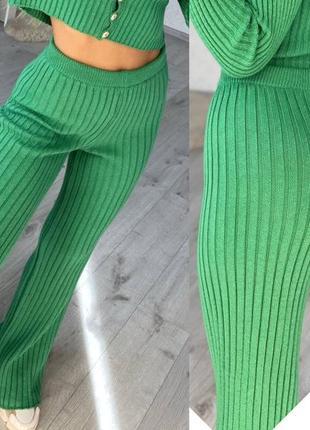 Женские красивые брюки 44-50 размер, женские яркие брюки в рубчик