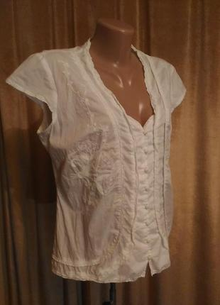 Белая блузка marks&spenser per una прошва вышивка ручная работа размер 12/ l