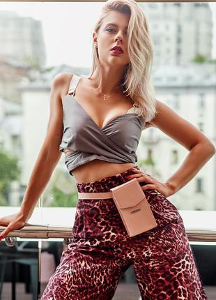 Вертикальна жіноча шкіряна сумка mini рожева поясна / кроссбоді - bn-bag-38-1-pink