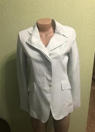 Летний льняной пиджак жакет блейзер ментолового цвета