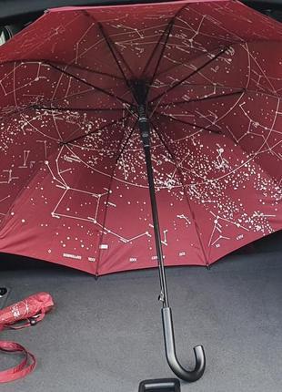 Жіноча парасоля,  тростина,  напівавтомат,  10 спиць з вітрозахистом