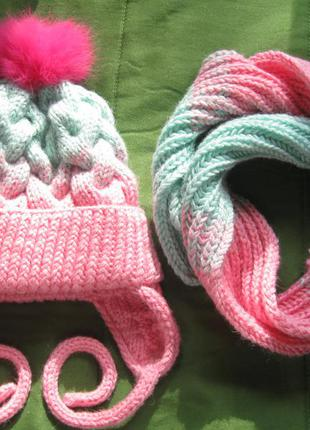 Теплая шапка с шарфом handmade